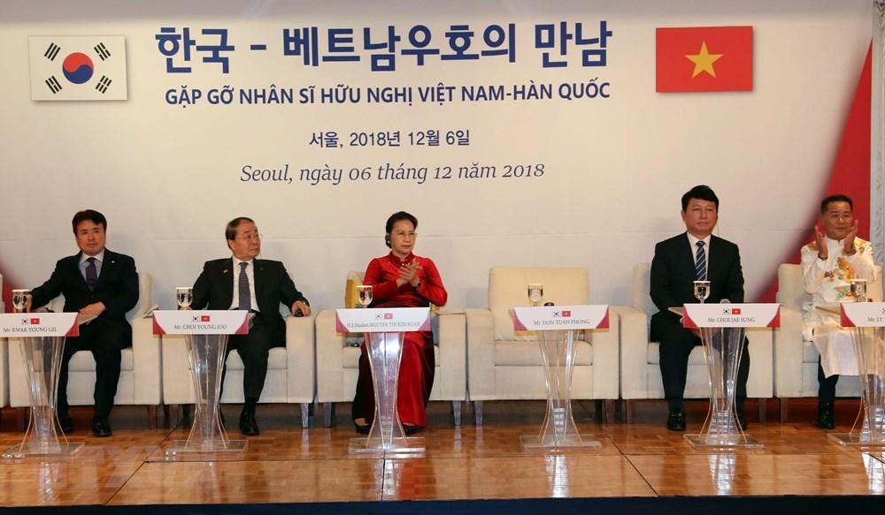 Chủ tịch Quốc hội Nguyễn Thị Kim Ngân gặp gỡ nhân sỹ hữu nghị Việt Nam-Hàn Quốc. Ảnh: Trọng Đức/TTXVN