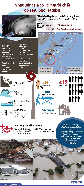 [Infographics] Nhat Ban: Da co 19 nguoi chet do sieu bao Hagibis hinh anh 1