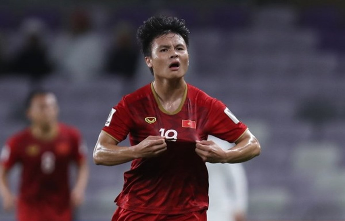 Quang Hải ăn mừng bàn thắng vào lưới Yemen. (Nguồn: AFC)