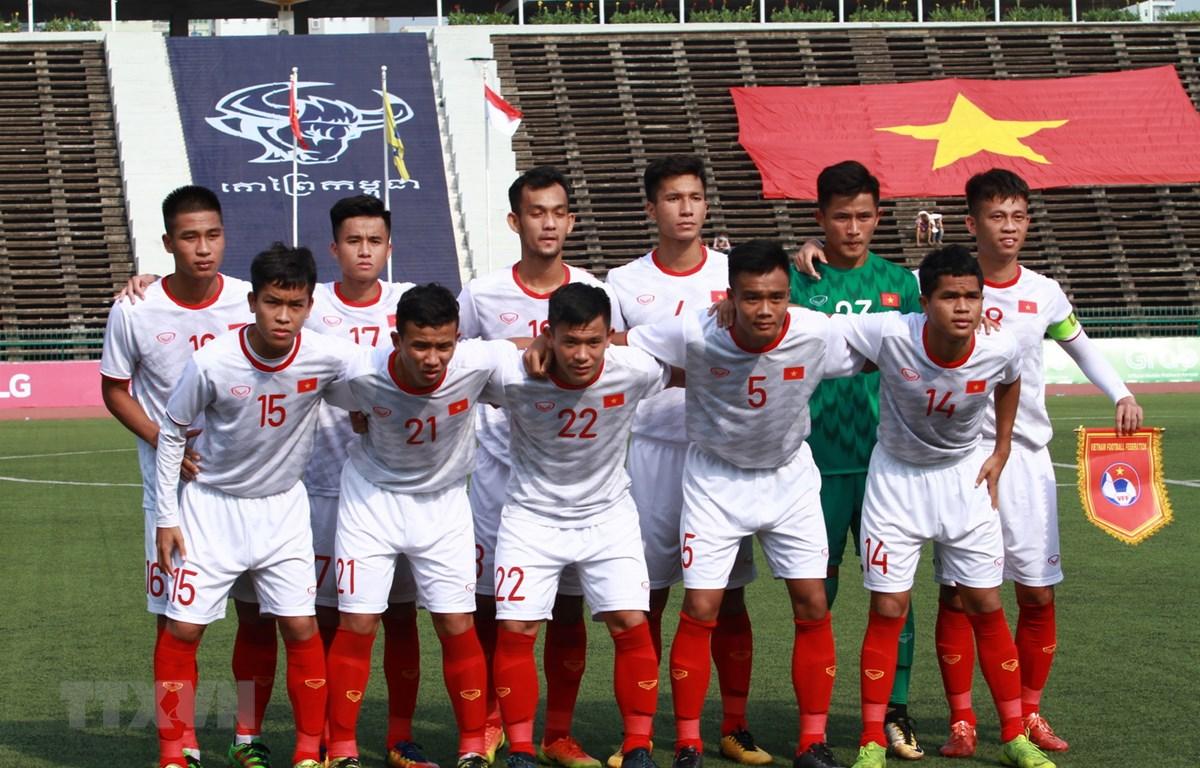 Đội hình ra sân của U22 Việt Nam. (Ảnh: Tuấn Cương/TTXVN)