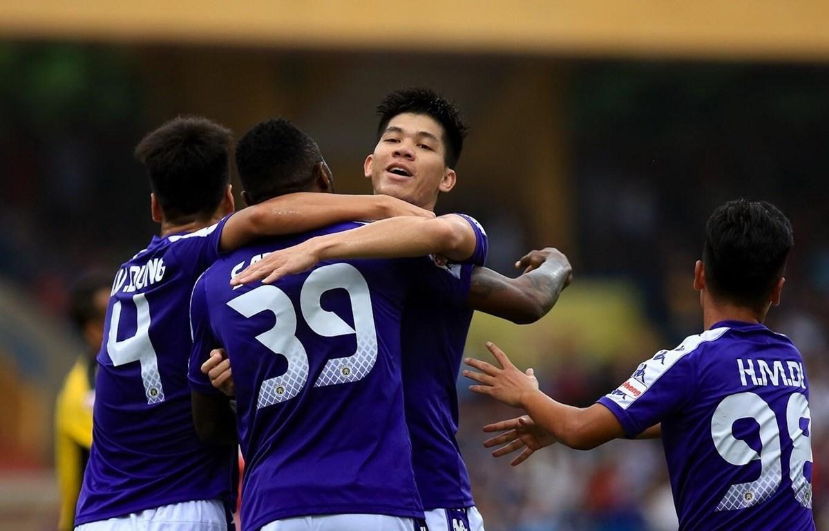 Hà Nội FC tìm kiếm chiến thắng sau trận hòa Quảng Nam. (Ảnh: Trọng Đạt/TTXVN)