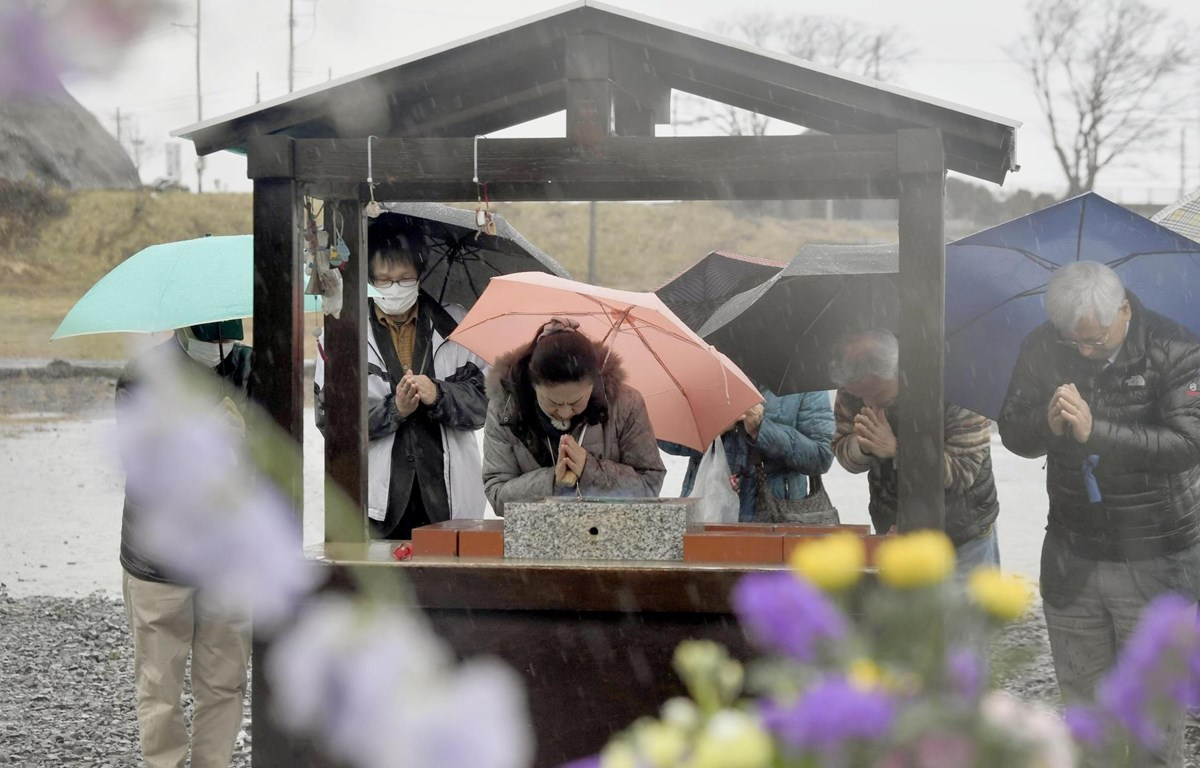 Nhật Bản đã tổ chức lễ tưởng niệm 8 năm ngày xảy ra thảm họa động đất, sóng thần. (Nguồn: Kyodo)