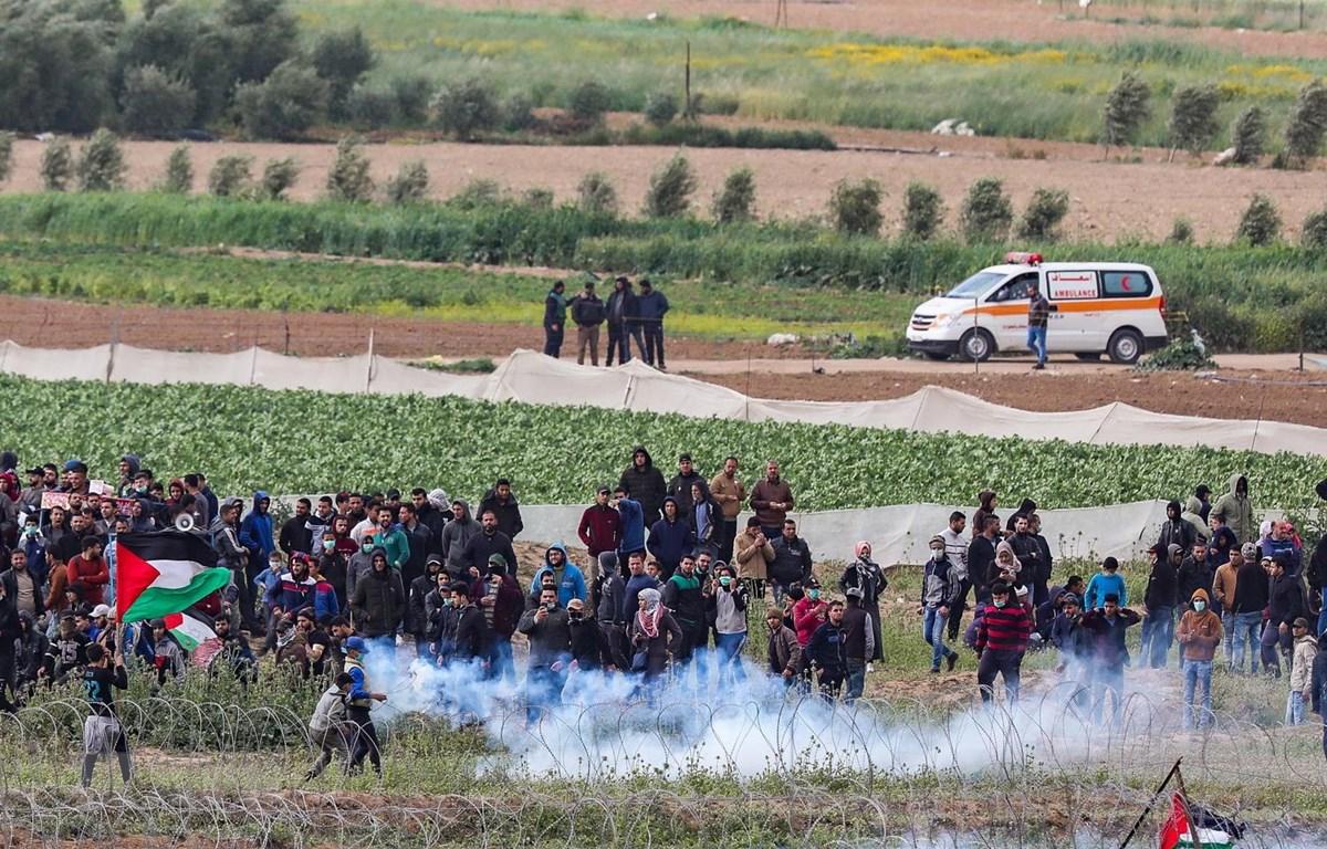 Người biểu tình Palestine xung đột với binh sỹ Israel tại khu vực hàng rào biên giới Israel- Gaza ngày 30/3. (Ảnh: THX/TTXVN)