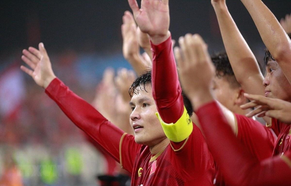 Tuyển thủ Nguyễn Quang Hải và các đồng đội tại vòng loại U23 châu Á 2020. (Ảnh: Trọng Đạt/TTXVN)