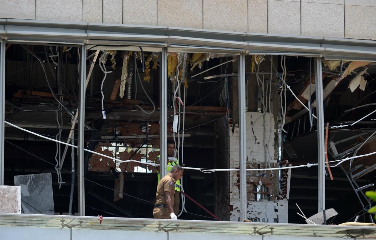 Hiện trường đổ vỡ sau một vụ nổ tại khách sạn Shangri-La ở thủ đô Colombo ngày 21/4. (Ảnh: THX/TTXVN)