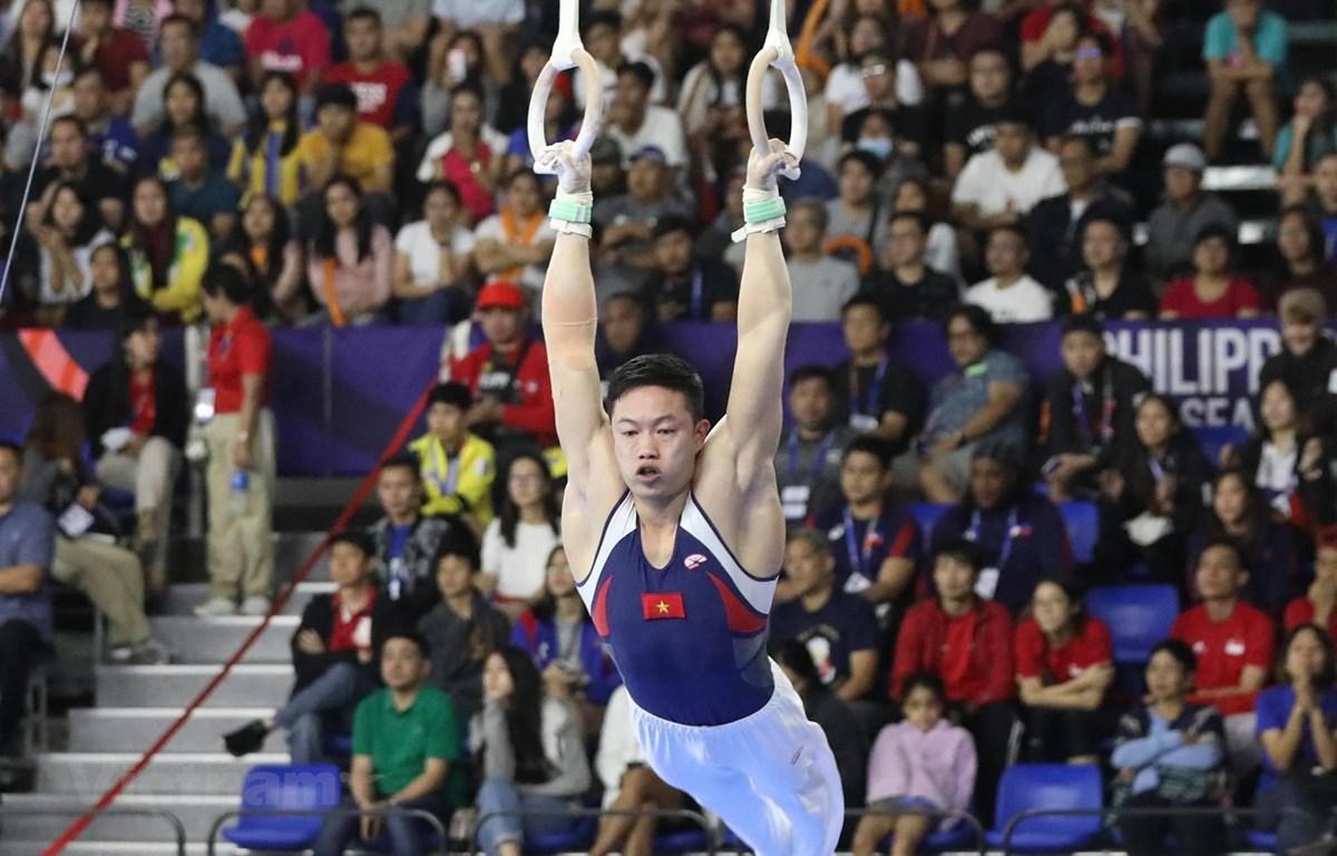 Đặng Nam giành huy chương Vàng đầu tiên cho đội tuyển Thể dục dụng cụ tại SEA Games 30. (Ảnh: Vietnam+)