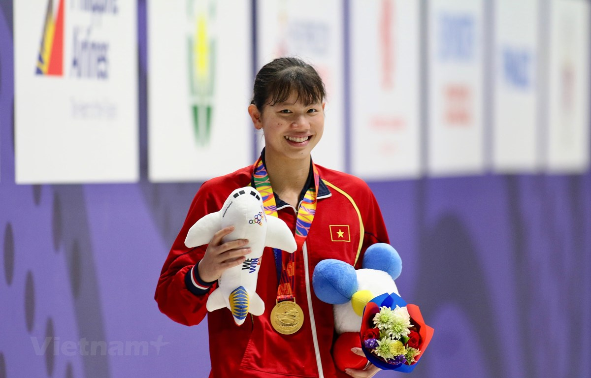Ánh Viên đã có 3 huy chương Vàng tại SEA Games 30. (Ảnh: Vietnam+)