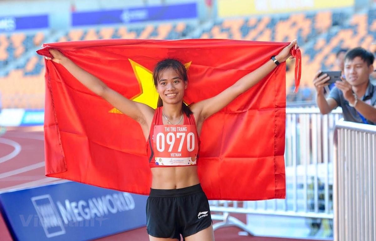Phạm Thị Thu Trang giành HCV 10.000m đi bộ. (Ảnh: Vietnam+)