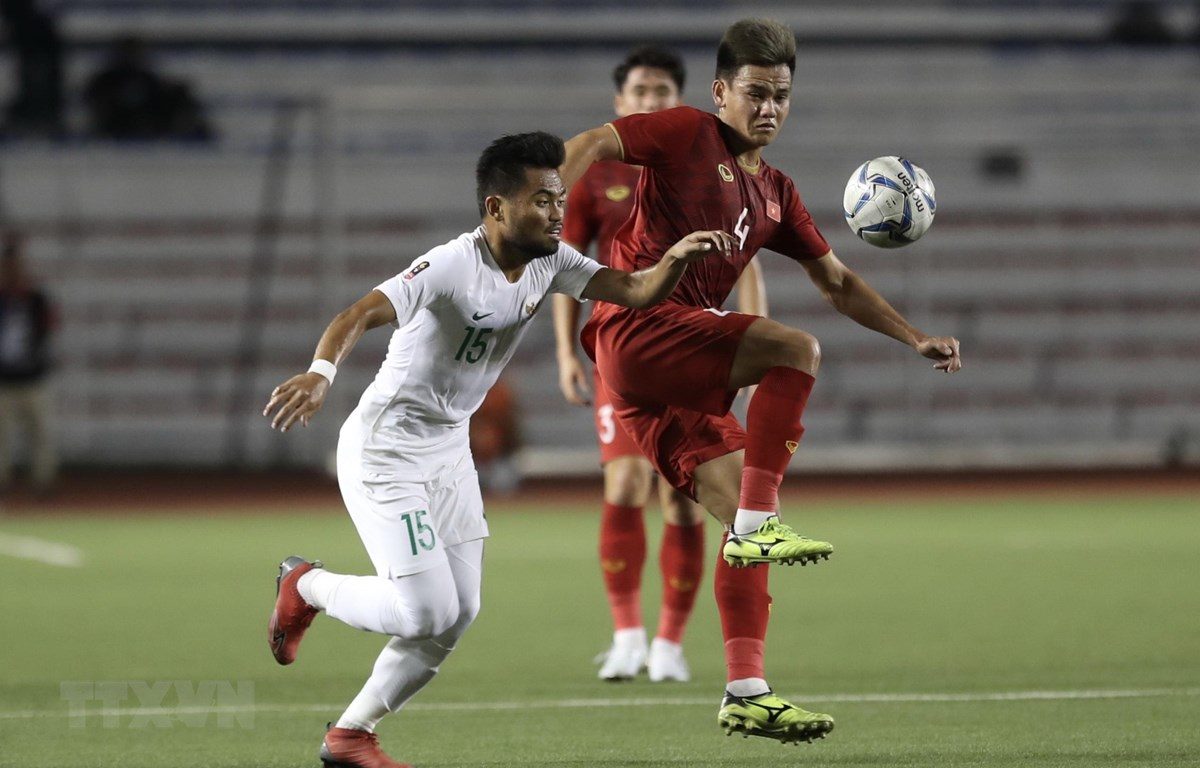 U22 Việt Nam quyết vượt qua U22 Indonesia để giành huy chương Vàng SEA Games 30. (Ảnh: Hoàng Linh/TTXVN)