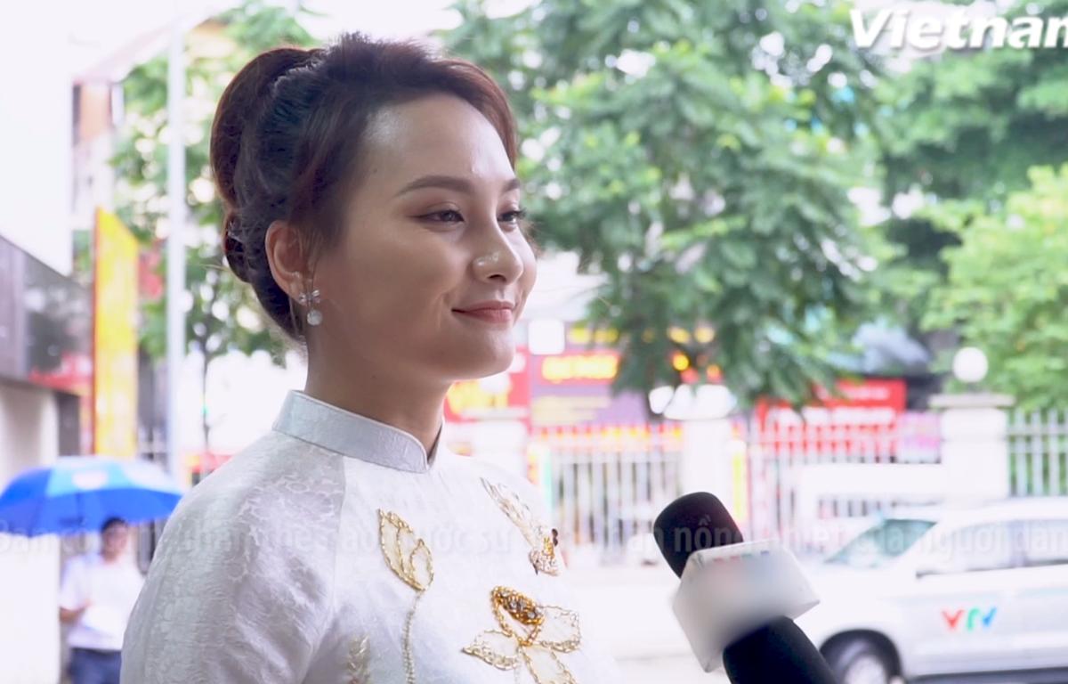 """Diễn viên Bảo Thanh chia sẻ về vai diễn của mình trong phim """"Về nhà đi con"""". (Ảnh: Minh Hiếu/Vietnam+)"""