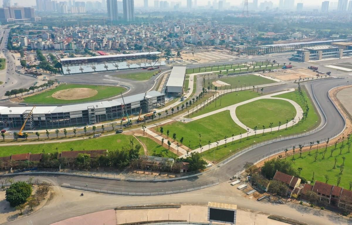 Toàn cảnh đường đua F1 tại Hà Nội đã được hoàn thành. (Ảnh: VGPC)