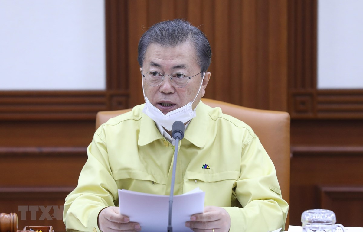 Tổng thống Hàn Quốc Moon Jae-in phát biểu tại cuộc họp nội các ở Seoul ngày 3/3/2020. (Ảnh: Yonhap/TTXVN)