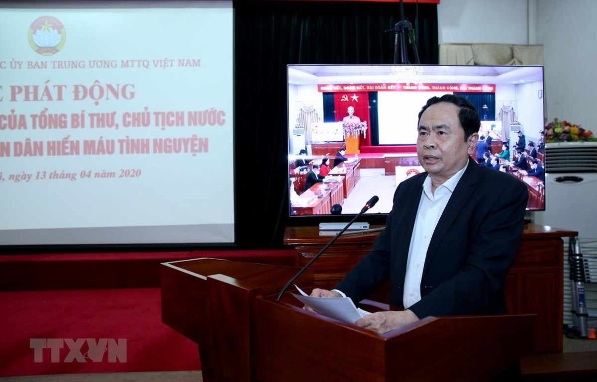 Chủ tịch Ủy ban Trung ương Mặt trận Tổ quốc Việt Nam Trần Thanh Mẫn phát động. (Ảnh: Dương Giang/TTXVN)
