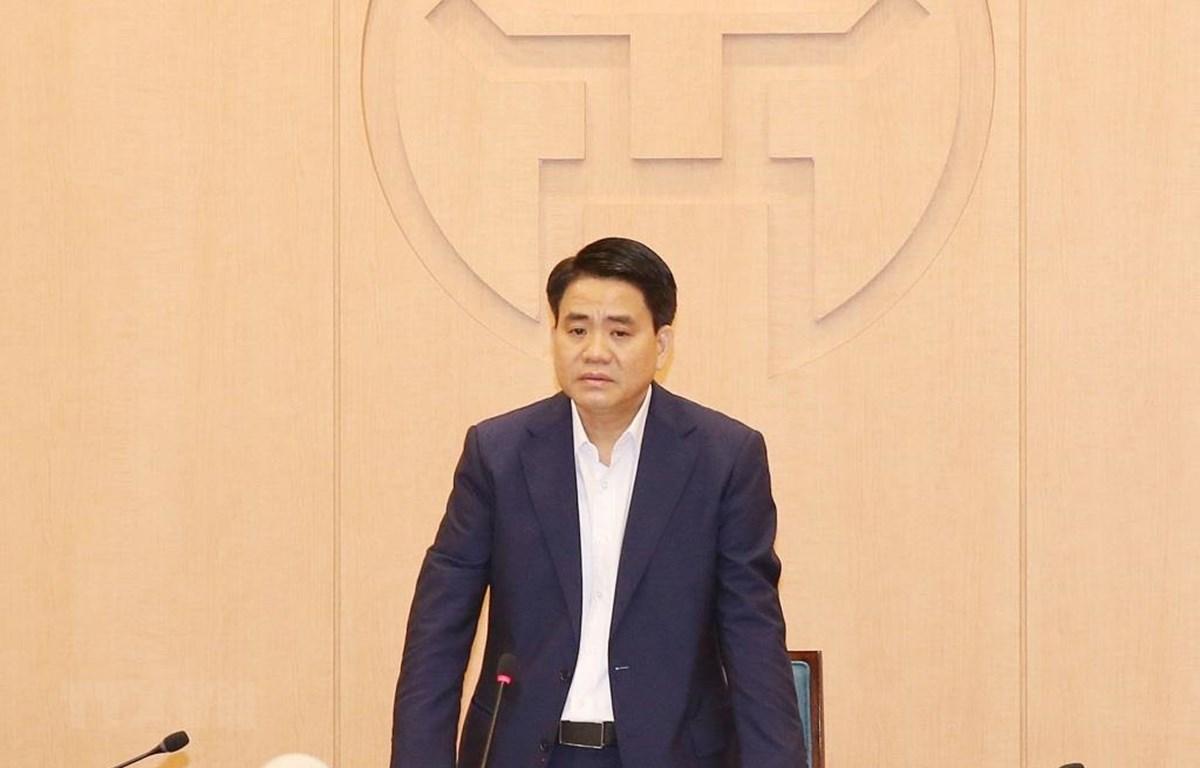 Chủ tịch UBND Thành phố Hà Nội Nguyễn Đức Chung phát biểu chỉ đạo phiên họp Ban Chỉ đạo phòng chống dịch COVID-19 Hà Nội. (Ảnh: Phương Hoa/TTXVN)