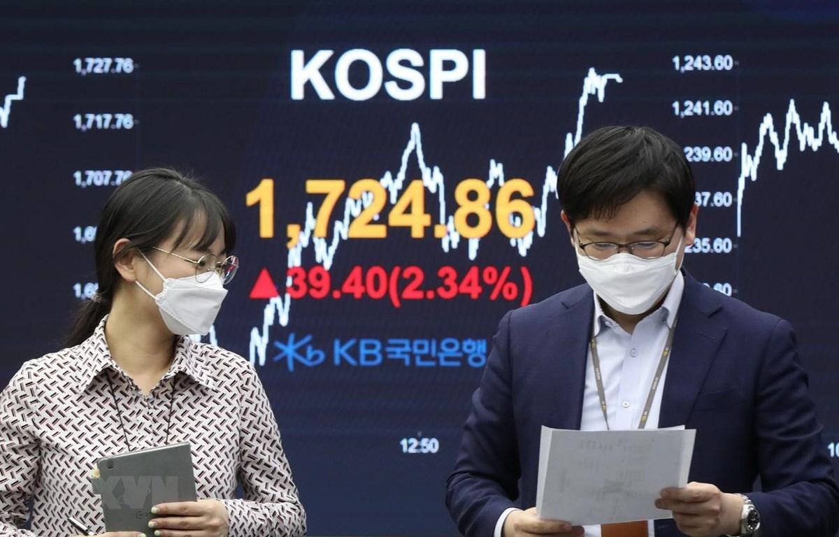Sàn giao dịch chứng khoán KOSPI của Hàn Quốc. (Ảnh: YONHAP/TTXVN)