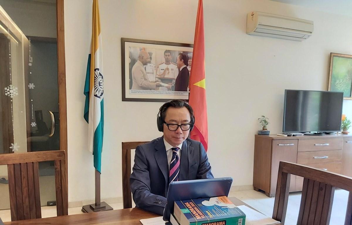 Đại sứ Việt Nam tại Ấn Độ Phạm Sanh Châu phát biểu tại hội nghị trực tuyến. (Ảnh: Huy Lê/Vietnam+)