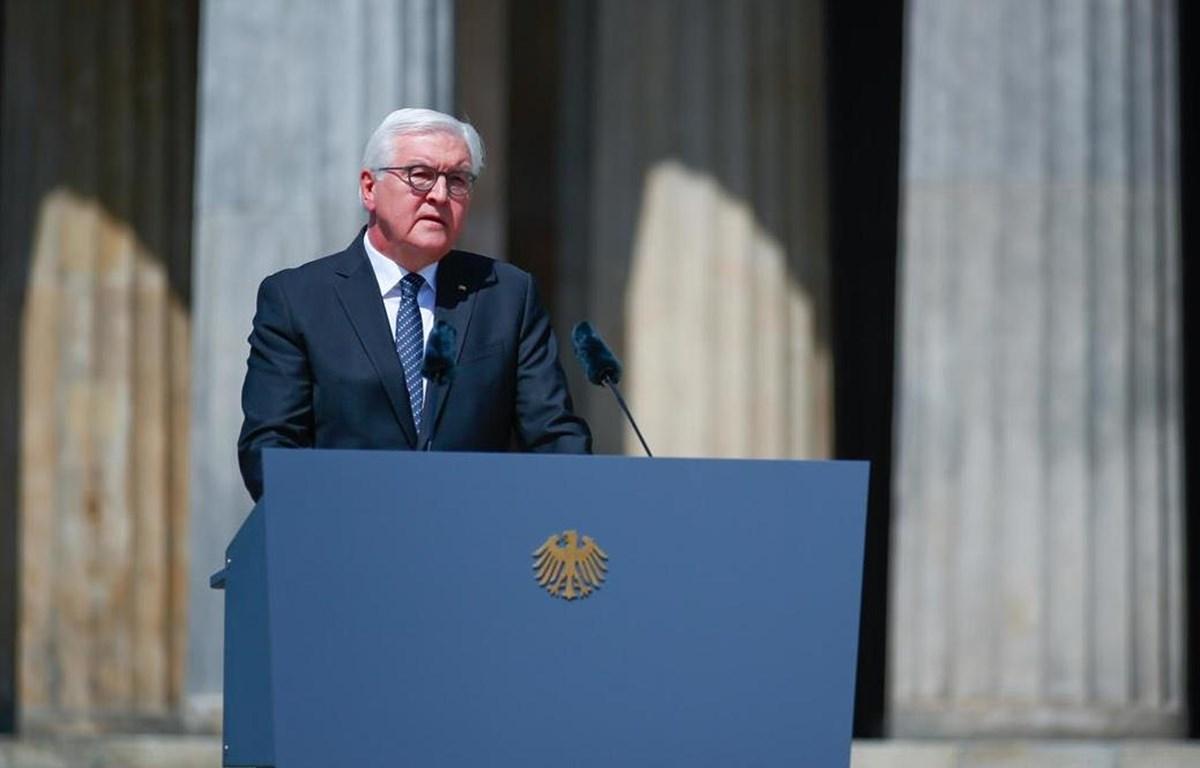 Tổng thống Đức Walter Steinmeier phát biểu tại buổi lễ kỷ niệm Ngày Chiến thắng tại Berlin. (Nguồn: Reuters)
