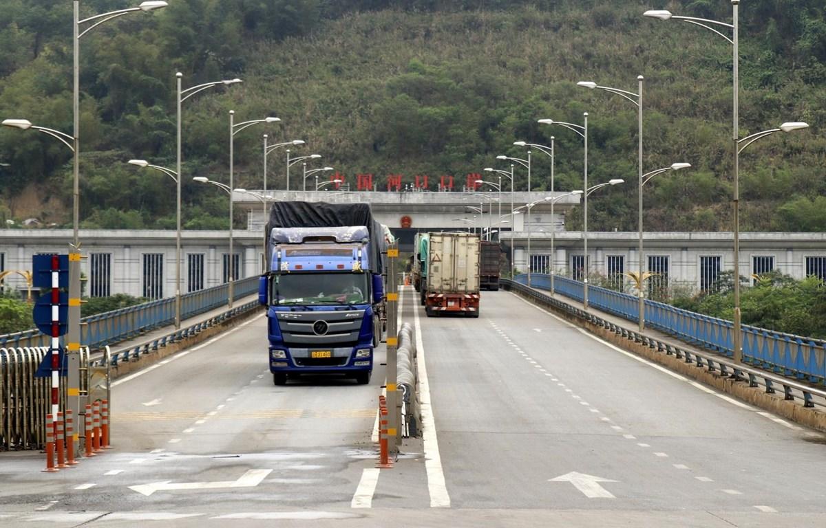 Các xe chở hàng xuất nhập khẩu qua cửa khẩu tại Lào Cai. (Ảnh: Quốc Khánh/TTXVN)