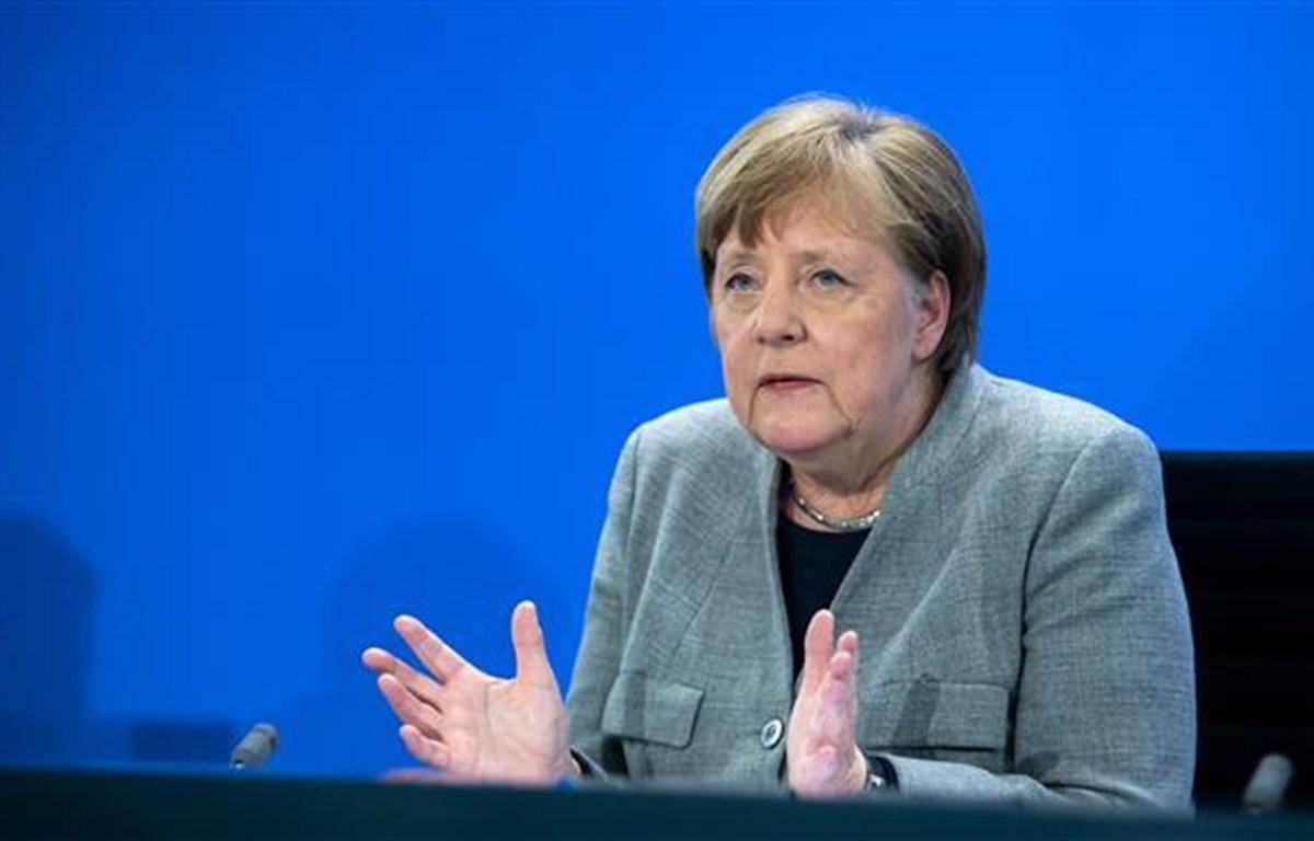 Thủ tướng Đức Angela Merkel phát biểu tại cuộc họp báo ở Berlin ngày 15/4/2020. (Ảnh: AFP/TTXVN)
