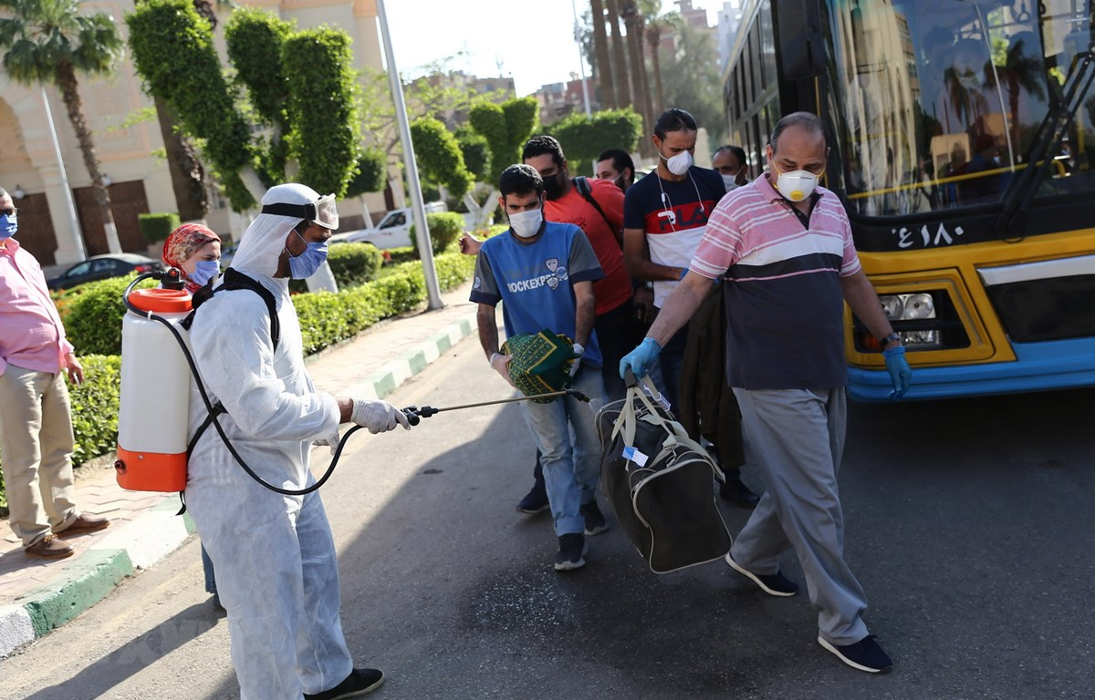 Phun thuốc khử trùng nhằm ngăn chặn sự lây lan của dịch COVID-19 tại Giza, Ai Cập. (Ảnh: THX/TTXVN)