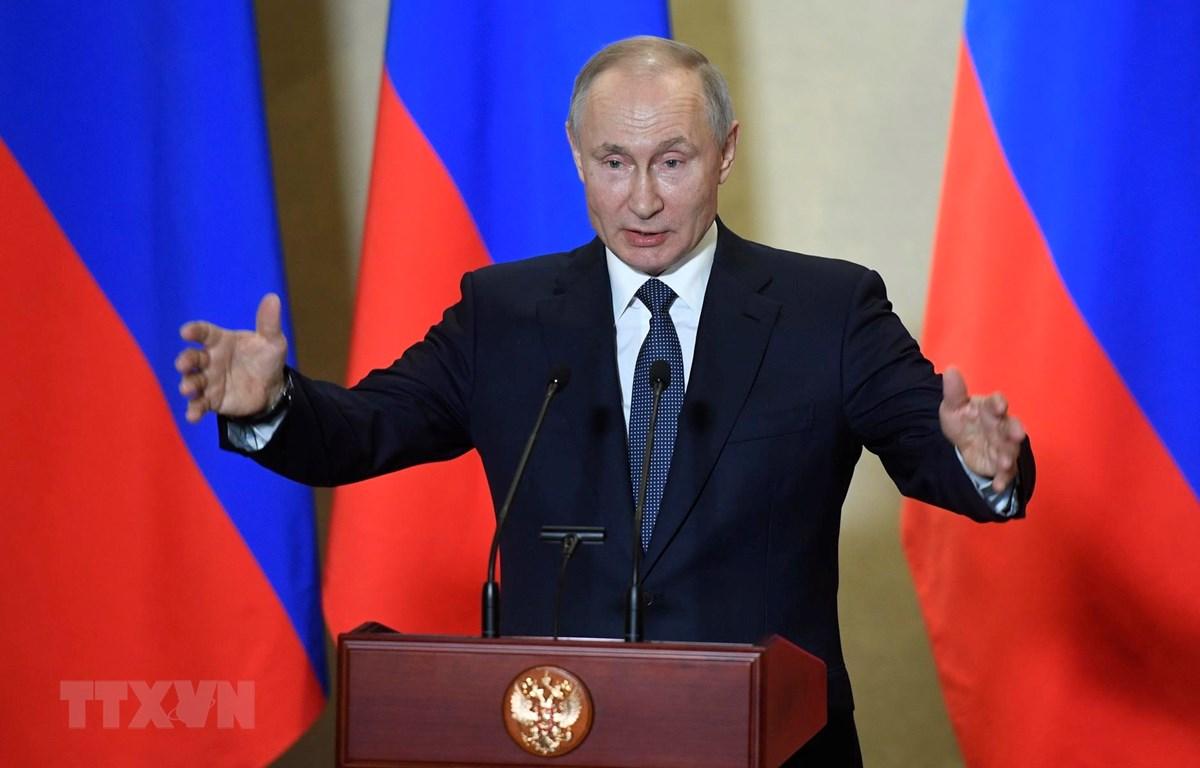 Tổng thống Nga Vladimir Putin trong bài phát biểu tại Sevastopol, Crimea ngày 18/3/2020. (Ảnh: AFP/TTXVN)