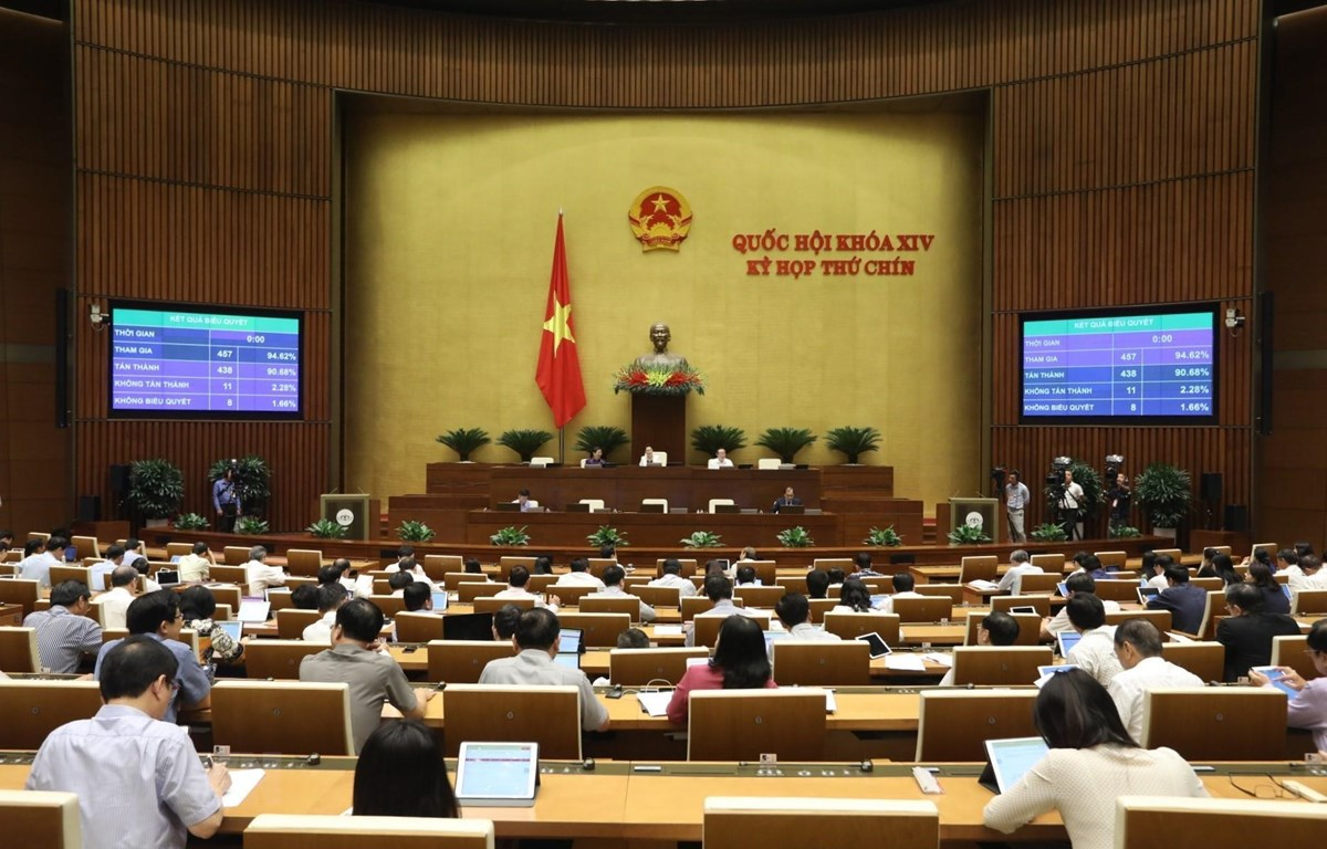 Đại biểu Quốc hội biểu quyết thông qua Luật Doanh nghiệp (sửa đổi). (Ảnh: Văn Điệp/TTXVN)