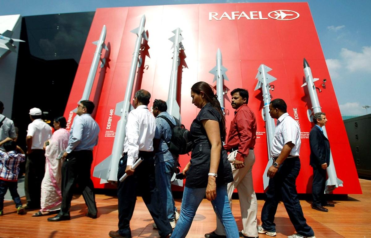 Tên lửa của tập đoàn Rafael, Israel tham gia triển lãm vũ khí tại Ấn Độ. (Nguồn: AP)