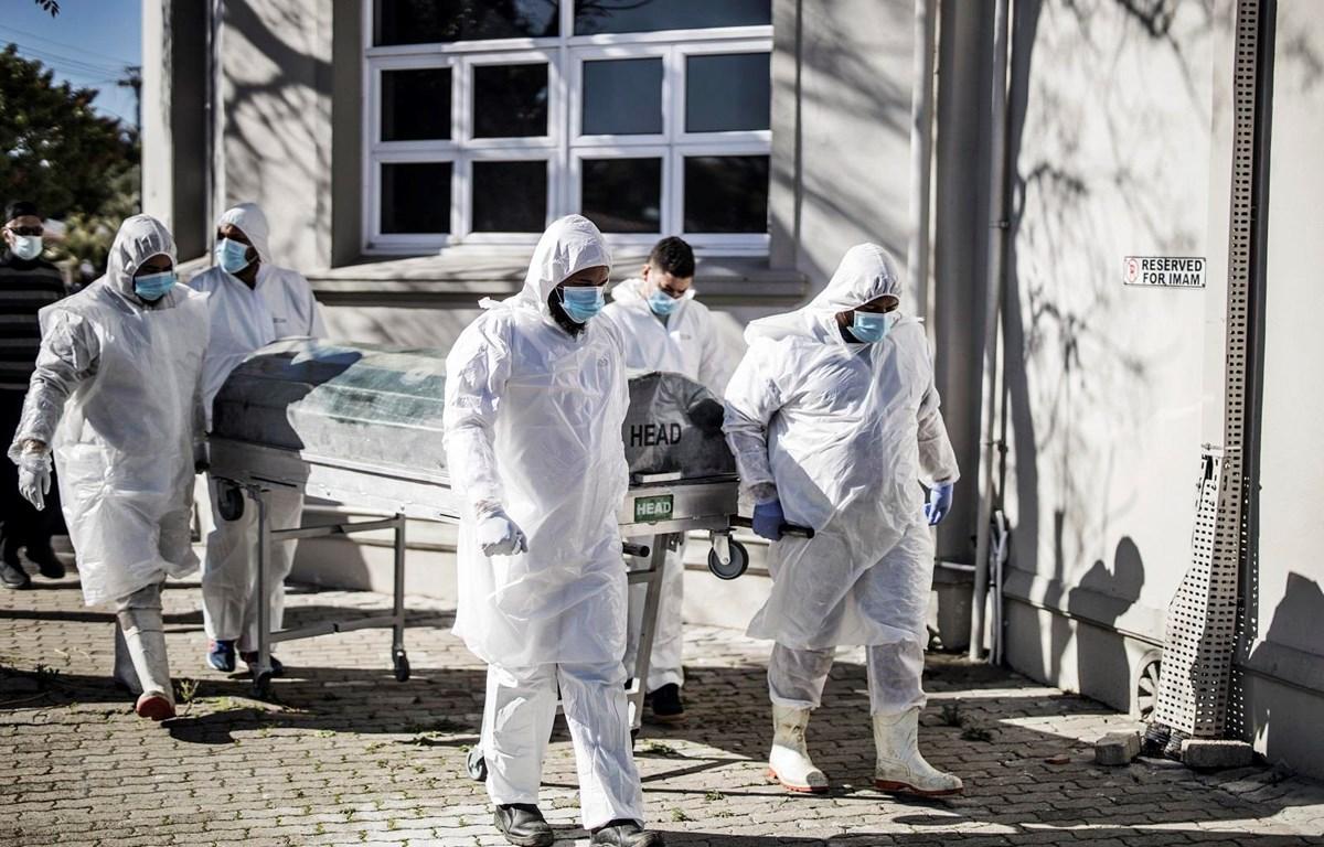 Nhân viên y tế chuyển thi thể bệnh nhân mắc COVID-19 tại Cape Town, Nam Phi ngày 16/6/2020. (Ảnh: AFP/TTXVN)
