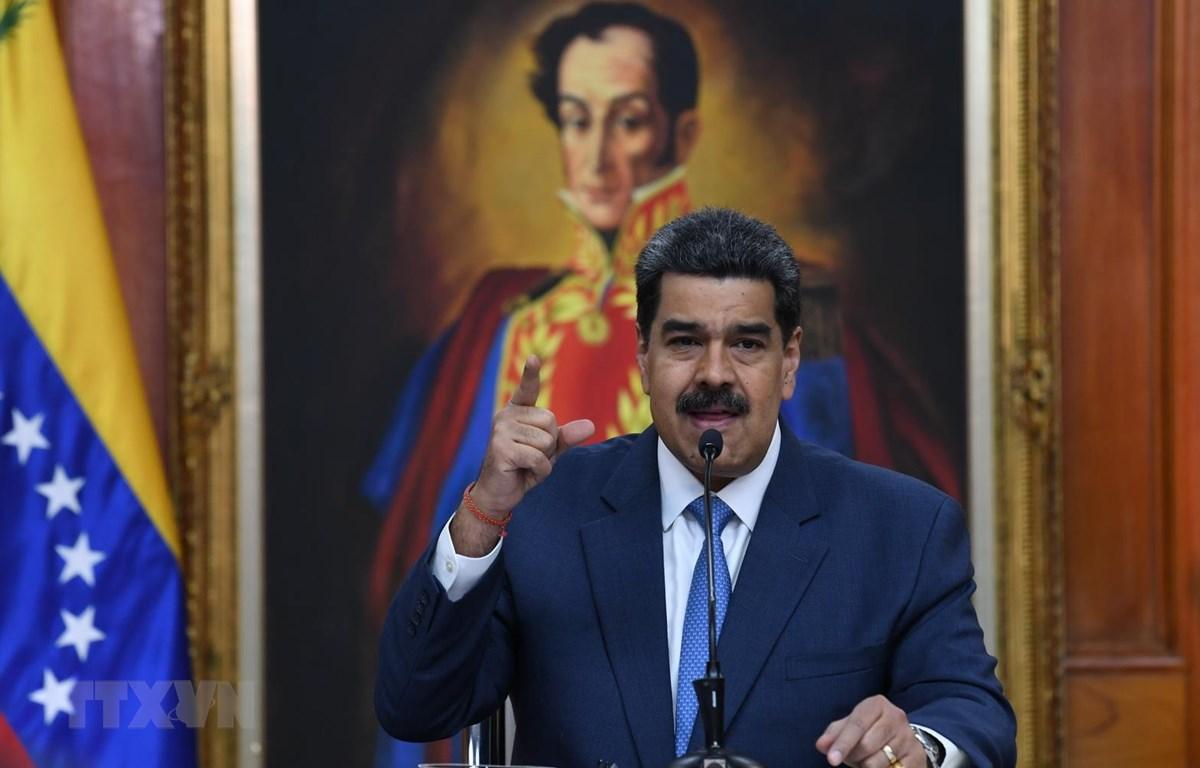 Tổng thống Venezuela Nicolas Maduro tại cuộc họp báo ở Caracas ngày 14/2/2020. (Ảnh: AFP/TTXVN)
