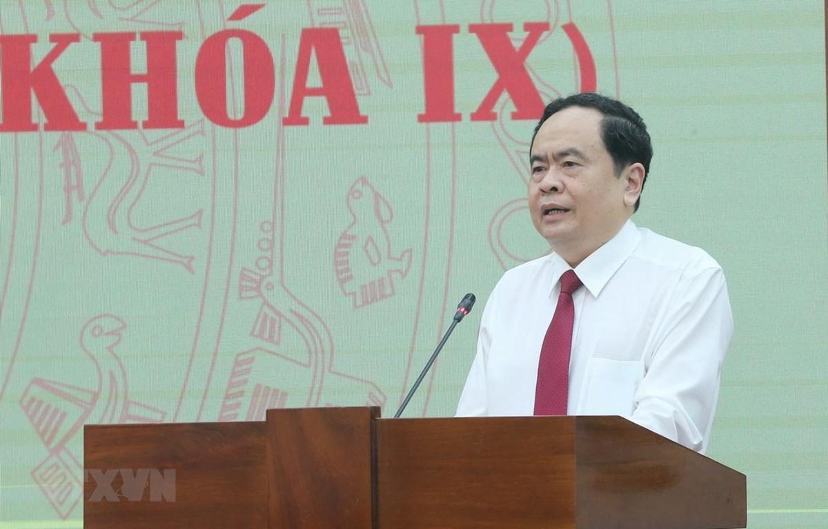 Đồng chí Trần Thanh Mẫn, Bí thư Trung ương Đảng, Chủ tịch Ủy ban Trung ương MTTQ Việt Nam phát biểu. (Ảnh: Doãn Tấn/TTXVN)