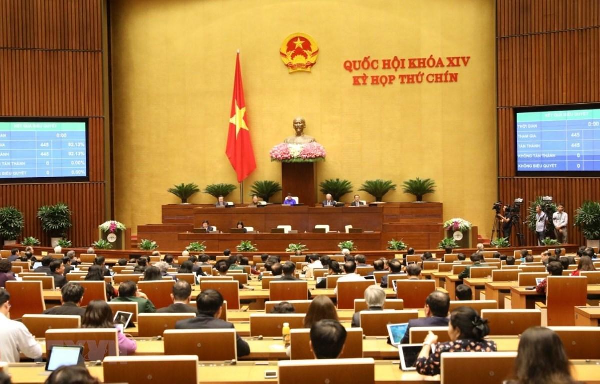Quốc hội biểu quyết thông qua Nghị quyết về tiếp tục tăng cường hiệu lực, hiệu quả việc thực hiện chính sách, pháp luật về phòng, chống xâm hại trẻ em. (Ảnh: Văn Điệp/TTXVN)