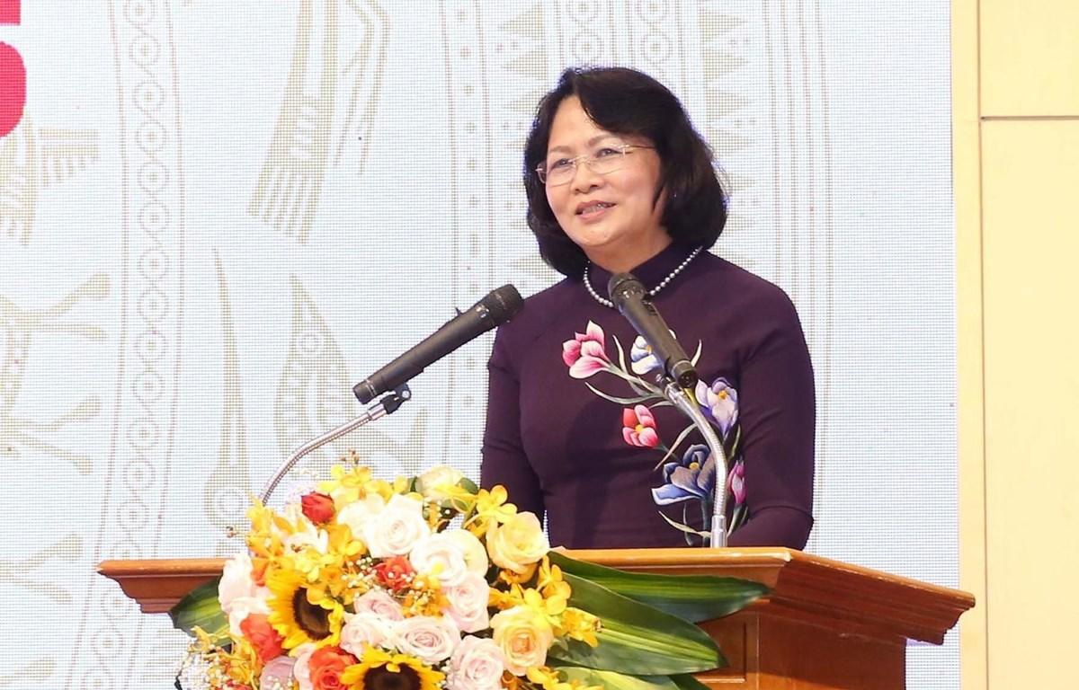 Phó Chủ tịch nước Đặng Thị Ngọc Thịnh phát biểu tại Đại hội. (Ảnh: Phương Hoa/TTXVN)