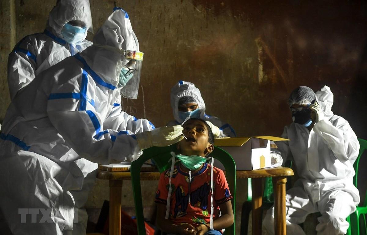 Nhân viên y tế lấy mẫu xét nghiệm COVID-19 tại Kolkata, Ấn Độ ngày 23/7/2020. (Ảnh: AFP/TTXVN)