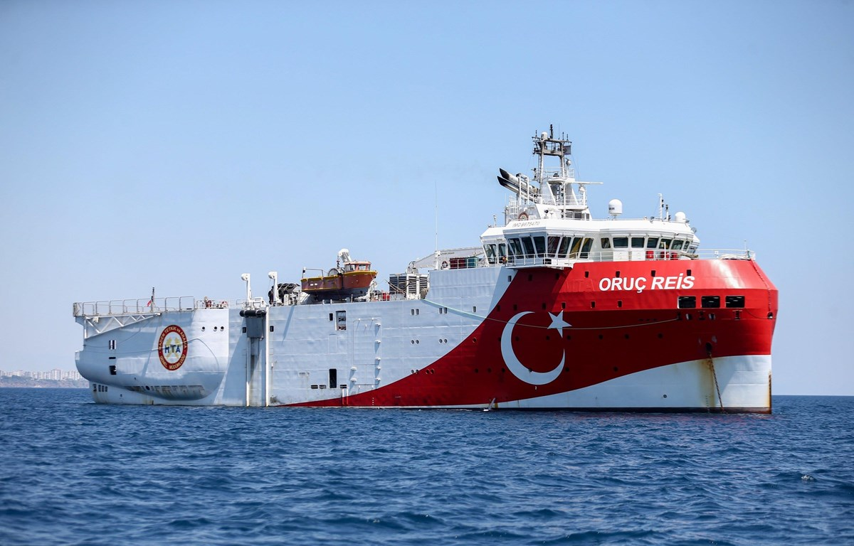 Tàu nghiên cứu khoa học Oruc Reis của Thổ Nhĩ Kỳ. (Nguồn: Anadolu)
