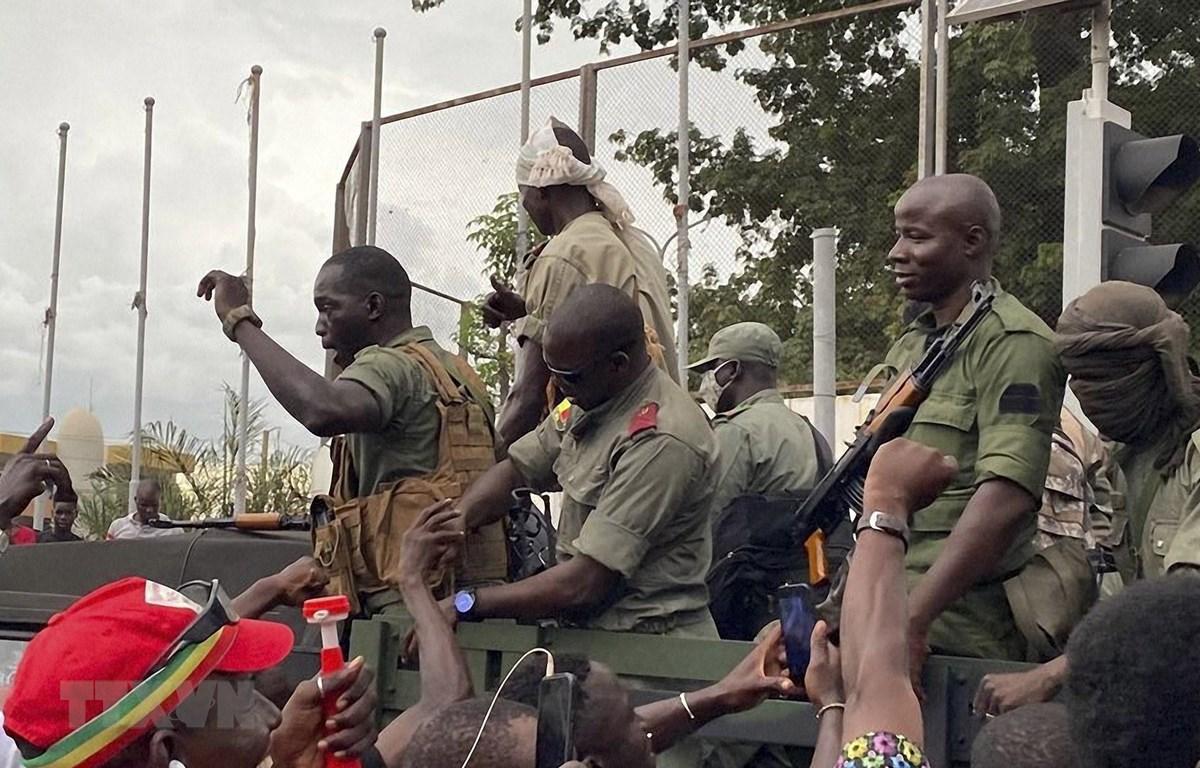 Binh lính Mali tới quảng trường Độc lập ở thủ đô Bamako sau khi nổ ra cuộc binh biến do một nhóm binh sỹ tiến hành, ngày 18/8/2020. (Ảnh: AFP/TTXVN)