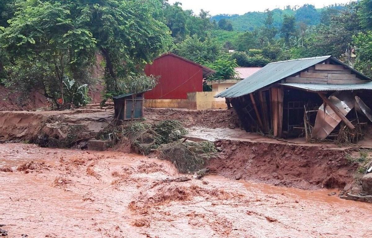 Mưa lũ gây thiệt hại tại xã Nậm Nhừ, huyện Nậm Pồ, tỉnh Điện Biên. (Ảnh: Xuân Tư/TTXVN)