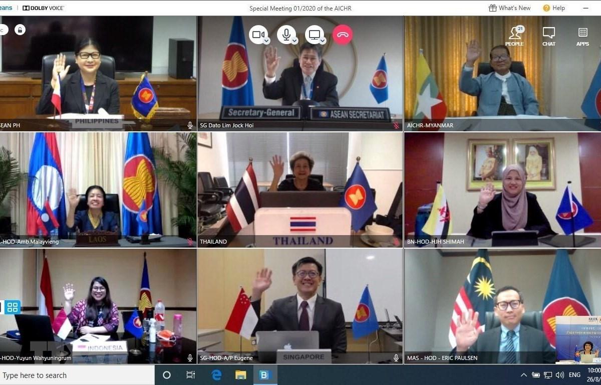 Đại biểu các nước tham gia cuộc họp trực tuyến. (Ảnh: TTXVN phát)