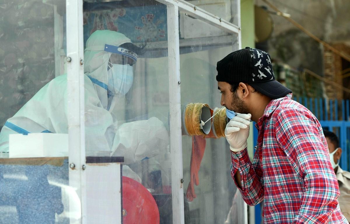 Nhân viên y tế lấy mẫu dịch xét nghiệm COVID-19 cho người dân tại New Delhi, Ấn Độ, ngày 22/8/2020. (Ảnh: THX/TTXVN)