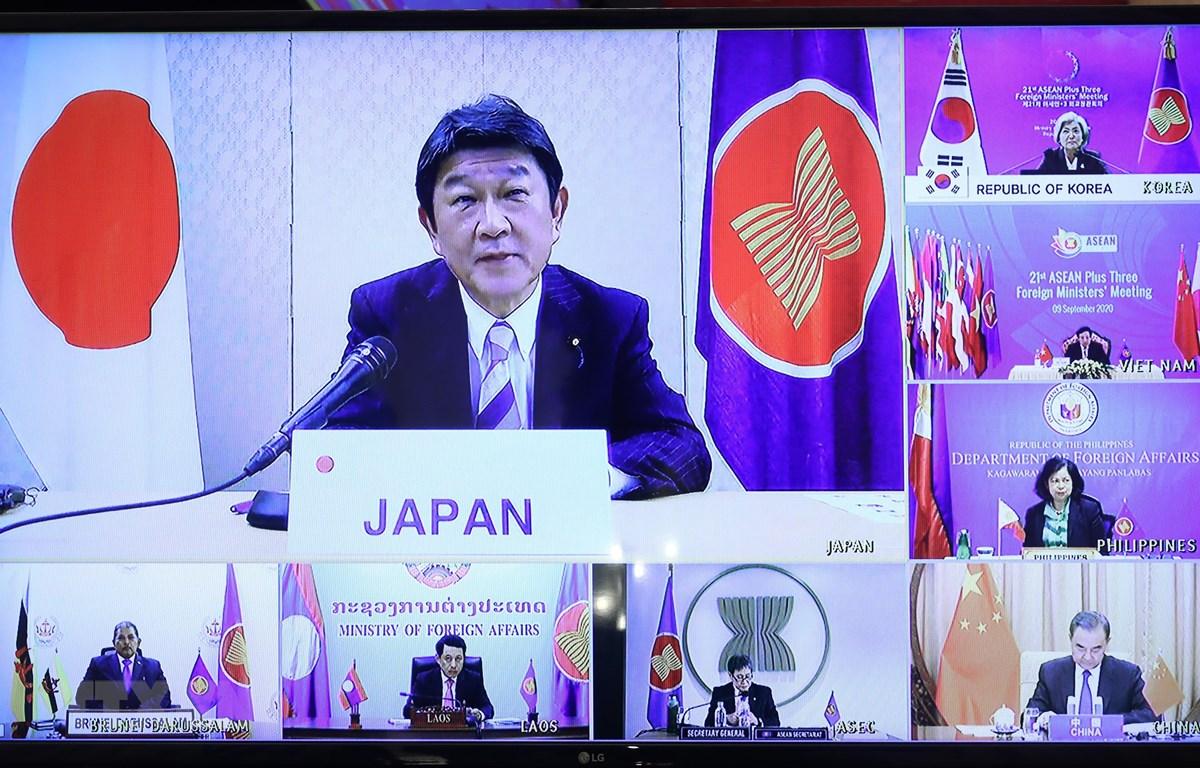Bộ trưởng Bộ Ngoại giao Nhật Bản Toshimitsu Motegi phát biểu trực tuyến tại Hội nghị Bộ trưởng Ngoại giao ASEAN+3 lần thứ 21. ((Ảnh: Lâm Khánh/TTXVN)