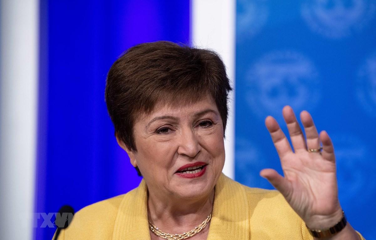 Tổng giám đốc IMF Kristalina Georgieva phát biểu tại cuộc họp báo ở Washington, DC, Mỹ ngày 4/3/2020. (Ảnh: AFP/TTXVN)