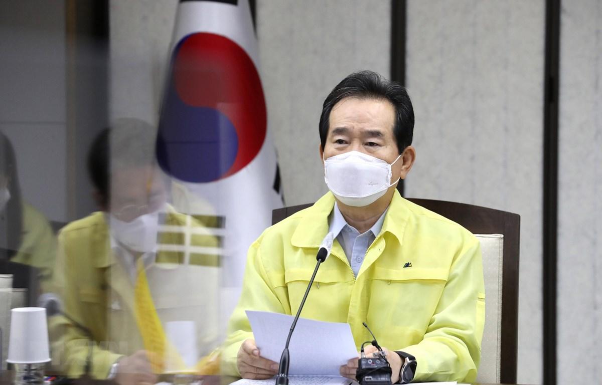 Thủ tướng Hàn Quốc Chung Sye-kyun chủ trì cuộc họp ở Sejong, ngày 2-9-2020. Ảnh: YONHAP/TTXVN
