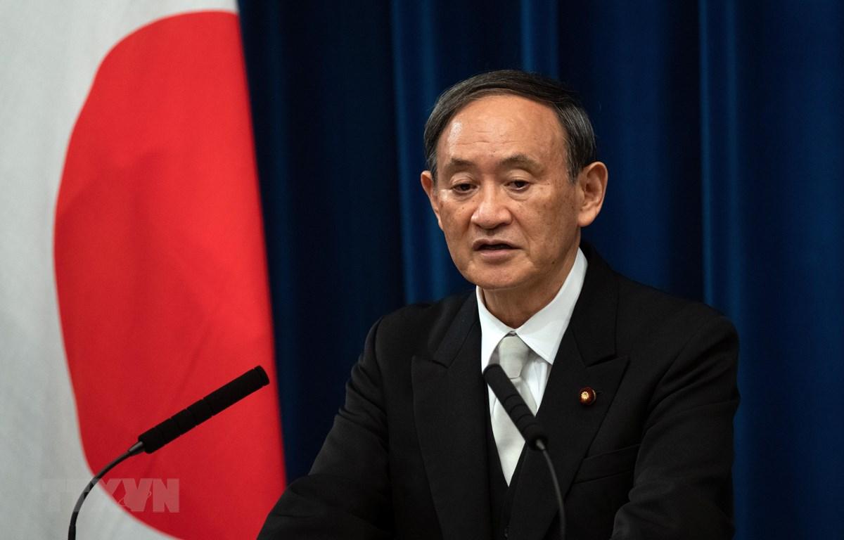 Tân Thủ tướng Nhật Bản Yoshihide Suga phát biểu trong cuộc họp báo tại Tokyo, Nhật Bản, ngày 16/9/2020. (Ảnh: AFP/TTXVN)