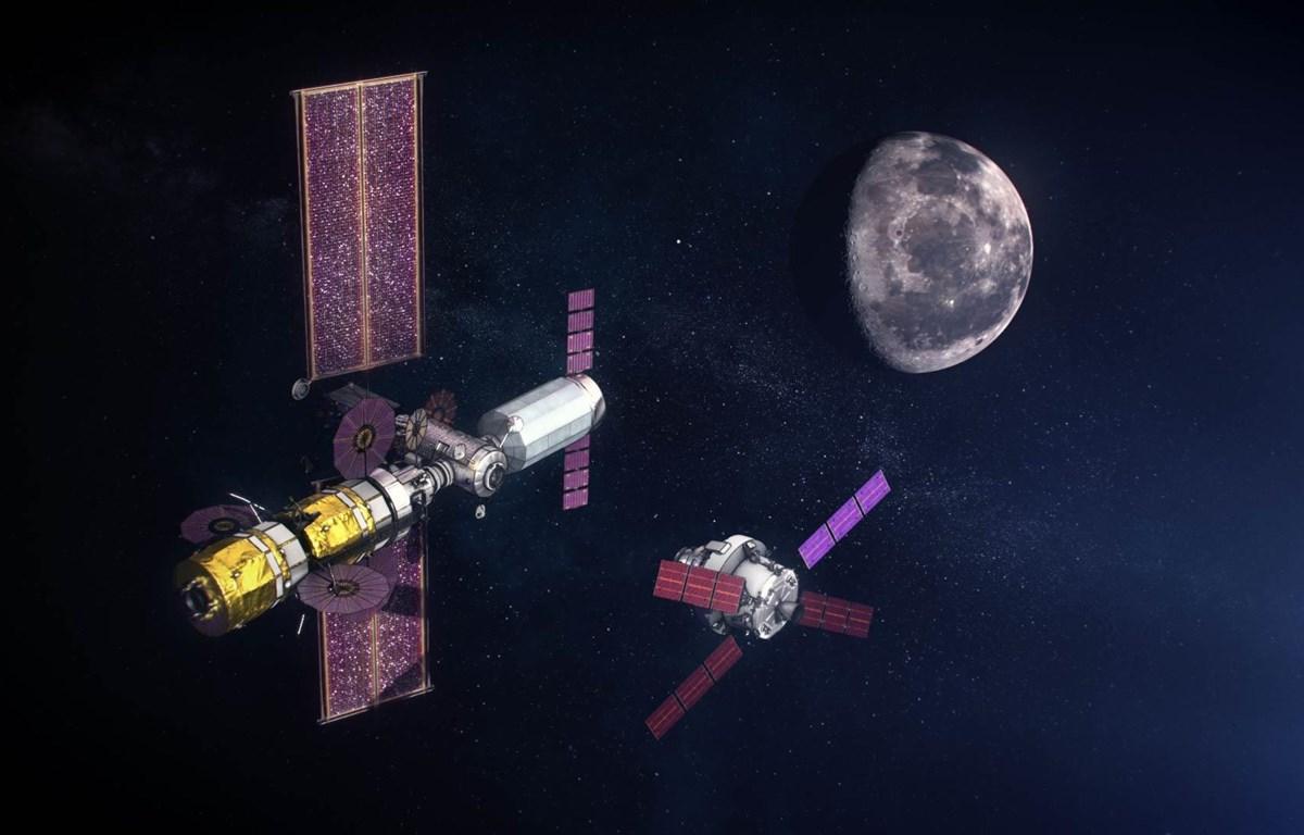 Mô phỏng trạm không gian Gateway trong dự án chinh phục Mặt Trăng. (Nguồn: NASA)