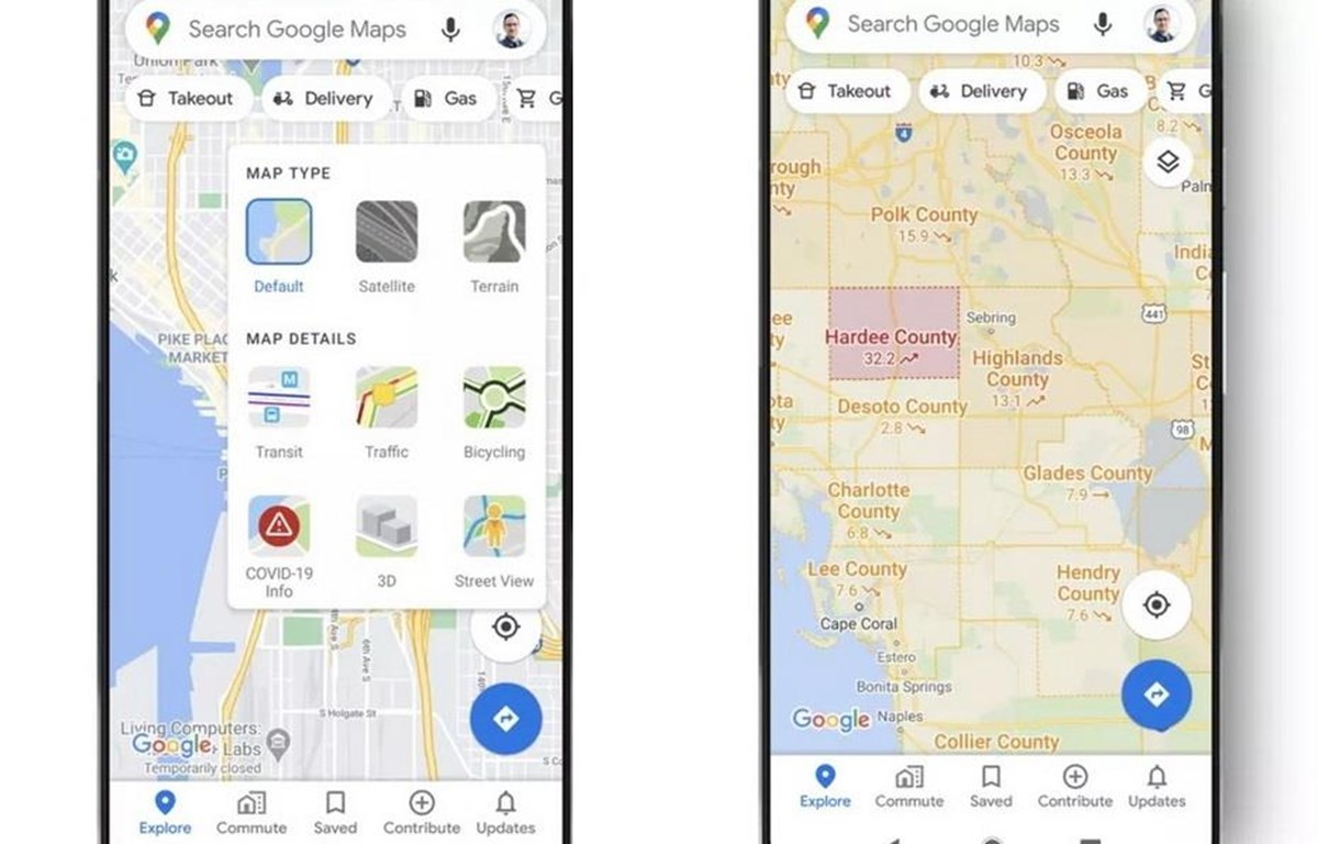 Tính năng COVID-19 của Google Maps. (Nguồn: Google)