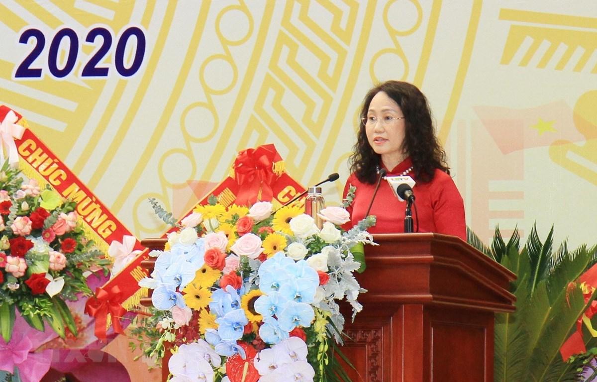 Bà Lâm Thị Phương Thanh tái đắc cử Bí thư Tỉnh ủy Lạng Sơn. (Ảnh: Thái Thuần/TTXVN)