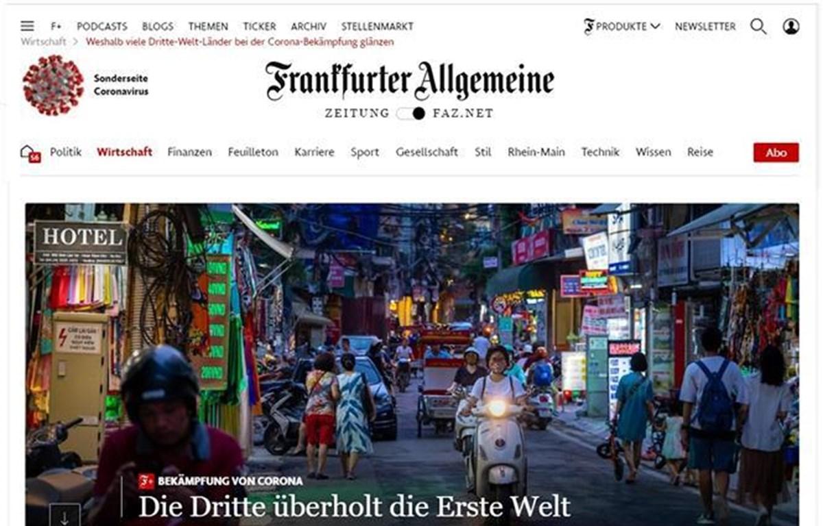 Bài viết trên báo Toàn cảnh Frankfurt (FAZ) của Đức ca ngợi hình mẫu chống dịch của Việt Nam. (Ảnh: Mạnh Hùng/ PV TTXVN tại Đức)