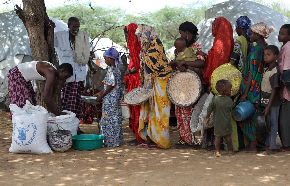 Phân phát lương thực viện trợ của Chương trình Lương thực thế giới (WFP) cho người dân tại trại tị nạn ở Mogadishu, Somalia. (Ảnh: AFP/TTXVN)