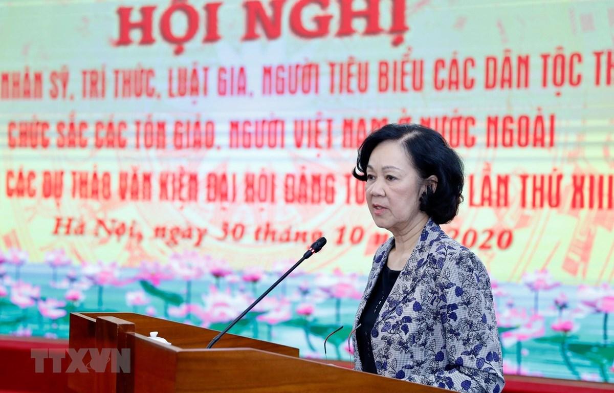 Bà Trương Thị Mai, Trưởng Ban Dân vận Trung ương, Trưởng Ban Chỉ đạo 597 phát biểu. (Ảnh: Dương Giang/TTXVN)
