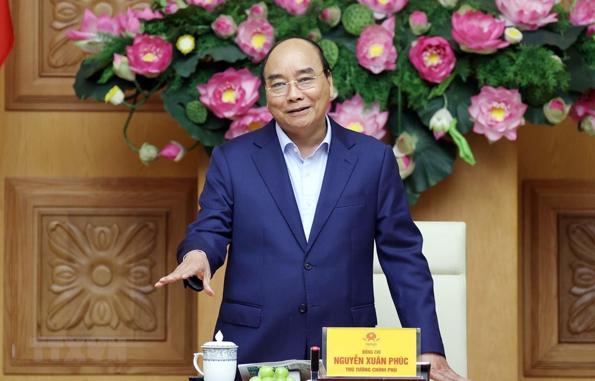 Thủ tướng Nguyễn Xuân Phúc phát biểu tại buổi tiếp. (Ảnh: Thống Nhất/TTXVN)