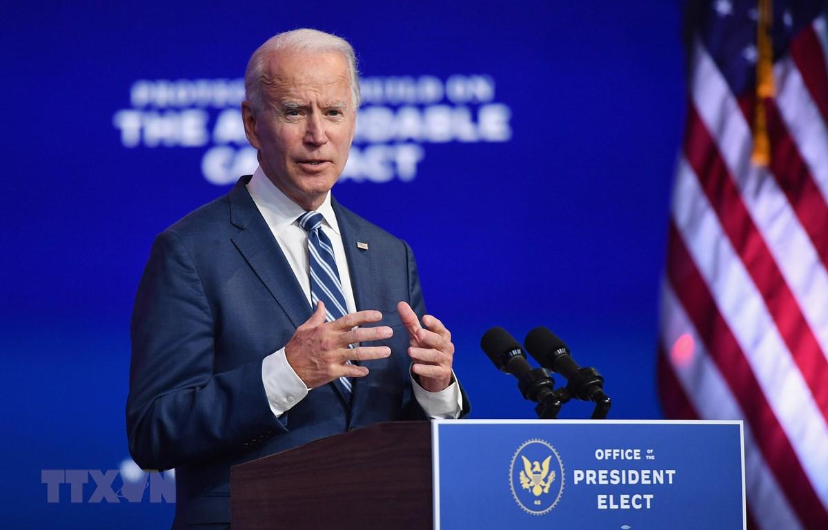 Ứng cử viên Tổng thống Mỹ của đảng Dân chủ Joe Biden phát biểu tại một sự kiện ở Wilmington, bang Delaware ngày 10/11/2020. (Ảnh: AFP/TTXVN)